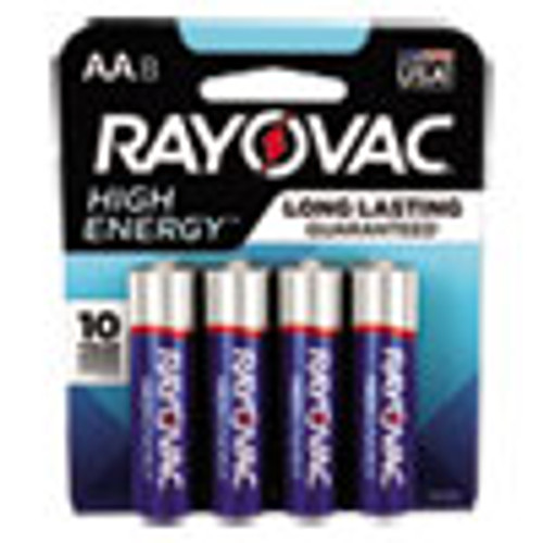 Rayovac High Energy Premium Alkaline AA Batteries  8 Pack (RAY8158K)
