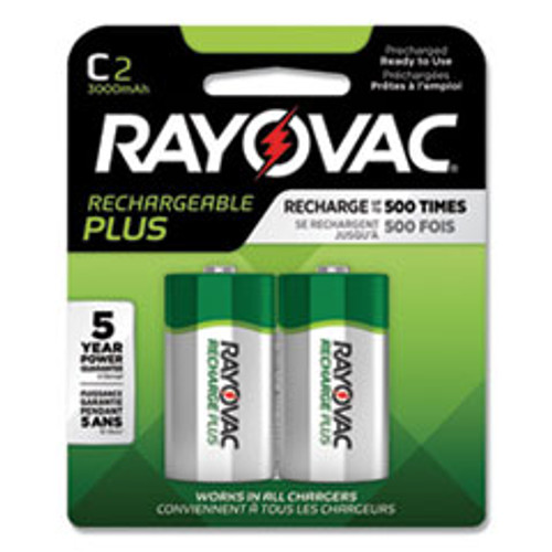 Rayovac Recharge Plus NiMH Batteries  C  2 Pack (RAYPL7142GEND)