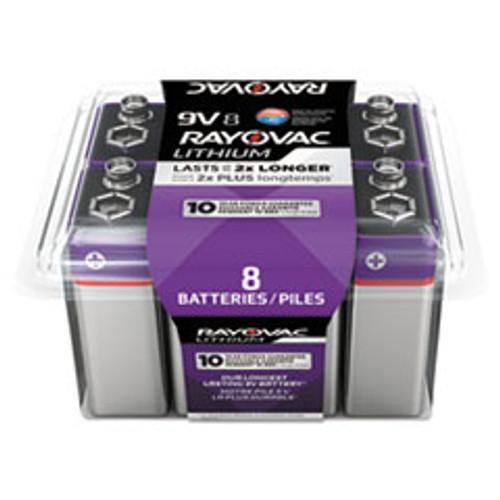 Rayovac Lithium Batteries  9V  8 Pack (RAYR9VL8G)