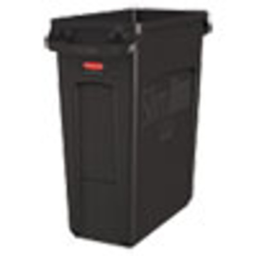 Rubbermaid Commercial Slim Jim with Venting Channels  Rectangular  16 gal  Plastic  Black (RCP1955959)