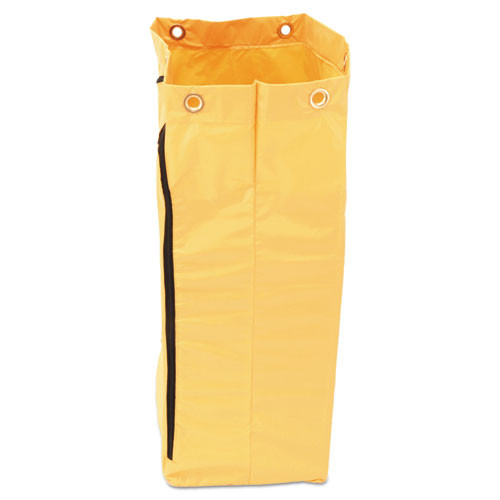 Rubbermaid Commercial Zippered Vinyl Cleaning Cart Bag  24 gal    17 25  x 30 5   Yellow (RCP1966719)