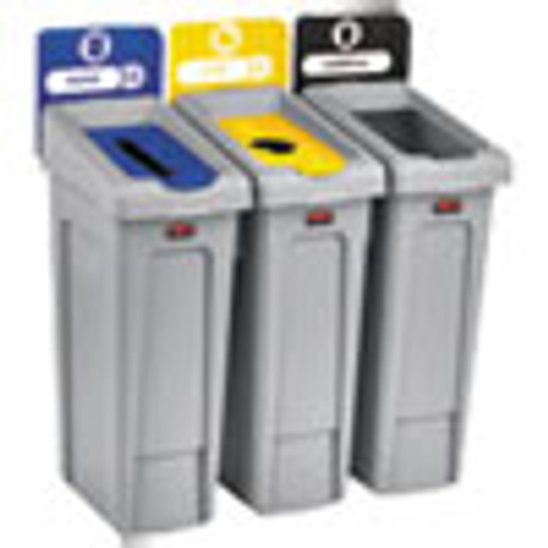 Rubbermaid Commercial Slim Jim Recycling Station Kit  69 gal  3-Stream Landfill Paper Bottles Cans (RCP2007917)