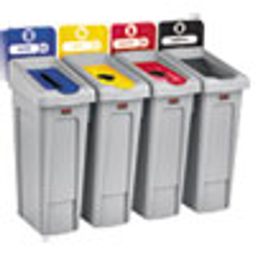 Rubbermaid Commercial Slim Jim Recycling Station Kit  92 gal  4-Stream Landfill Paper Plastic Cans (RCP2007919)