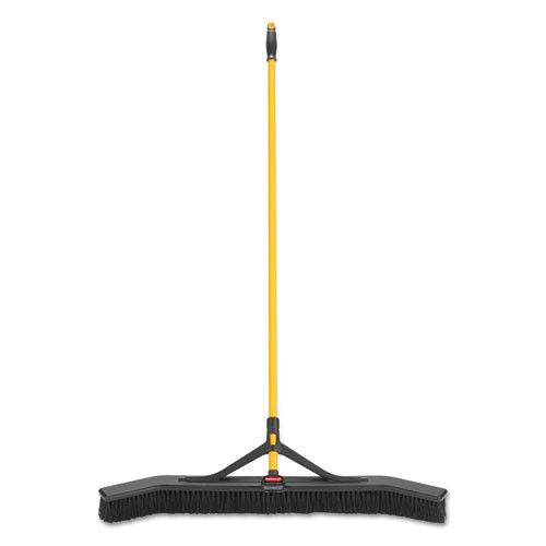 Rubbermaid Commercial Maximizer Push-to-Center Broom  36   Polypropylene Bristles  Yellow Black (RCP2018728)