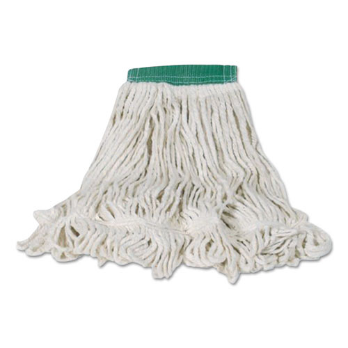 Rubbermaid Commercial Swinger Loop Shrinkless Mop Heads  Cotton Synthetic  White  Medium  6 Carton (RCPC252WHI)