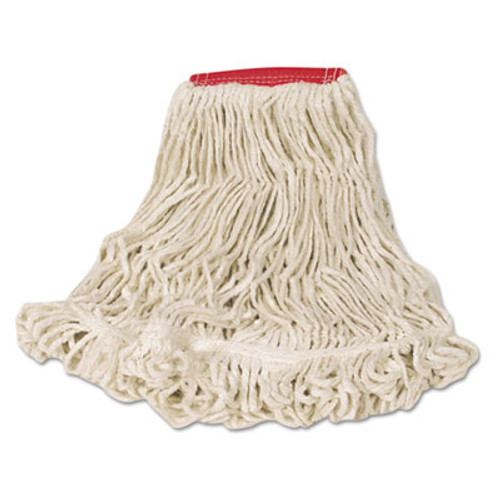 Rubbermaid Commercial Super Stitch Looped-End Wet Mop Head  Cotton Synthetic  Large Size  Red White (RCPD25306WE)