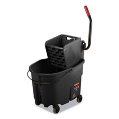 Rubbermaid Commercial WaveBrake 2 0 Bucket Wringer Combos  Side-Press  35 qt  Plastic  Black (RCPFG1863896)