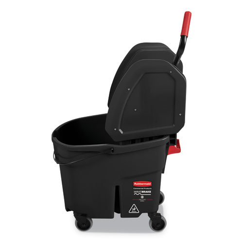 Rubbermaid Commercial WaveBrake 2 0 Bucket Wringer Combos  Down-Press  35 qt  Plastic  Black (RCPFG1863898)