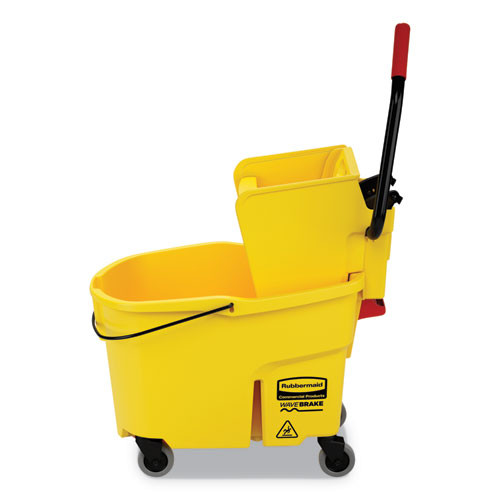 Rubbermaid Commercial WaveBrake 2 0 Bucket Wringer Combos  Side-Press  44 qt  Plastic  Yellow (RCPFG618688YEL)