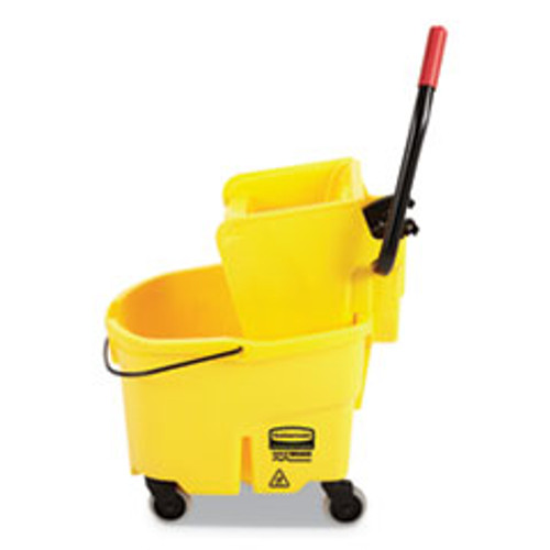 Rubbermaid Commercial WaveBrake 2 0 Bucket Wringer Combos  Side-Press  26 qt  Plastic  Yellow (RCPFG748000YEL)