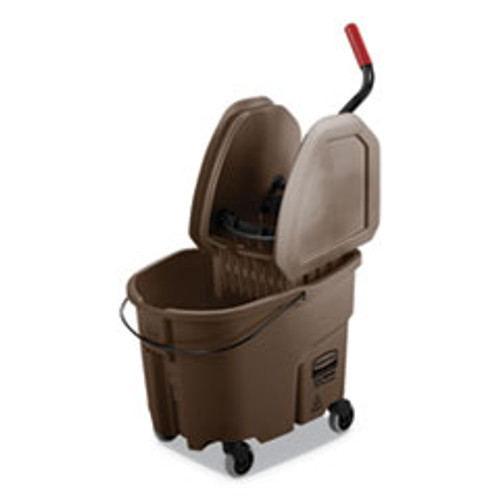 Rubbermaid Commercial WaveBrake 2 0 Bucket Wringer Combos  Down-Press  35 qt  Plastic  Brown (RCPFG757788BRN)