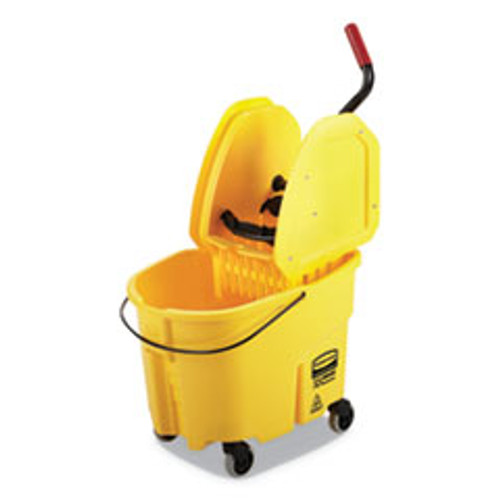 Rubbermaid Commercial WaveBrake 2 0 Bucket Wringer Combos  Down-Press  35 qt  Plastic  Yellow (RCPFG757788YEL)