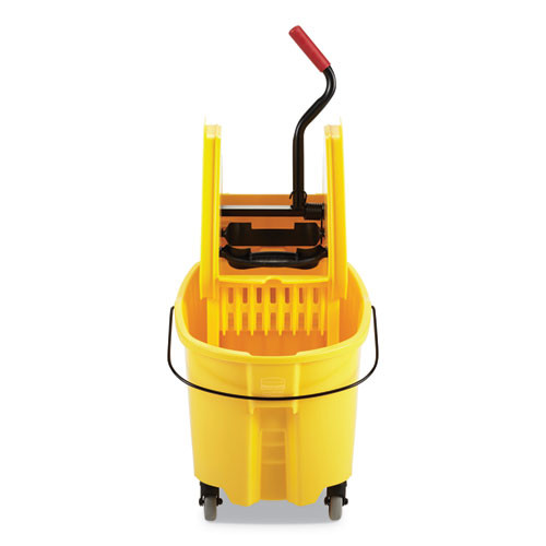 Rubbermaid Commercial WaveBrake 2 0 Bucket Wringer Combos  Down-Press  35 qt  Plastic  Yellow (RCPFG757788YEL)