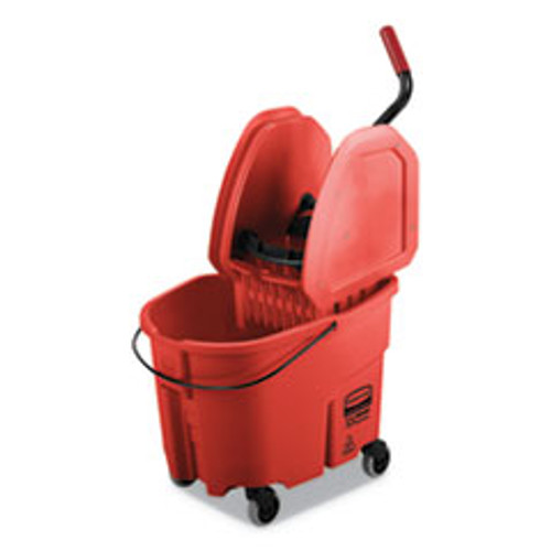 Rubbermaid Commercial WaveBrake 2 0 Bucket Wringer Combos  35 qt  Down Press  Plastic  Red (RCPFG757888RED)
