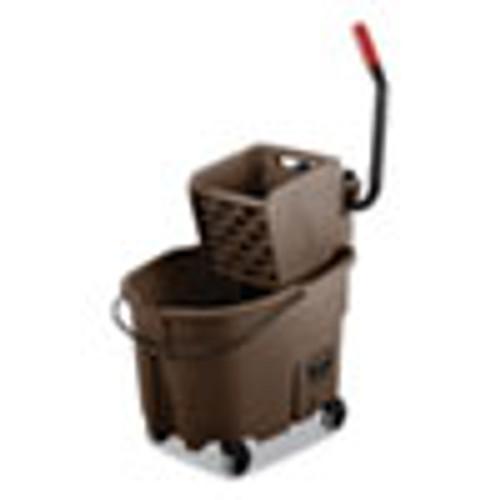 Rubbermaid Commercial WaveBrake 2 0 Bucket Wringer Combos  Side-Press  35 qt  Plastic  Brown (RCPFG758088BRN)