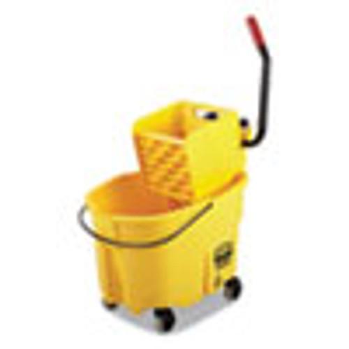 Rubbermaid Commercial WaveBrake 2 0 Bucket Wringer Combos  Side-Press  35 qt  Plastic  Yellow (RCPFG758088YEL)
