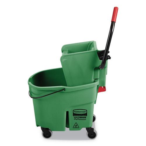 Rubbermaid Commercial WaveBrake 2 0 Bucket Wringer Combos  Side-Press  35 qt  Plastic  Green (RCPFG758888GRN)