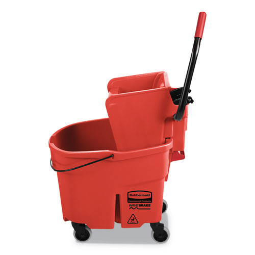 Rubbermaid Commercial WaveBrake 2 0 Bucket Wringer Combos  Side-Press  35 qt  Plastic  Red (RCPFG758888RED)