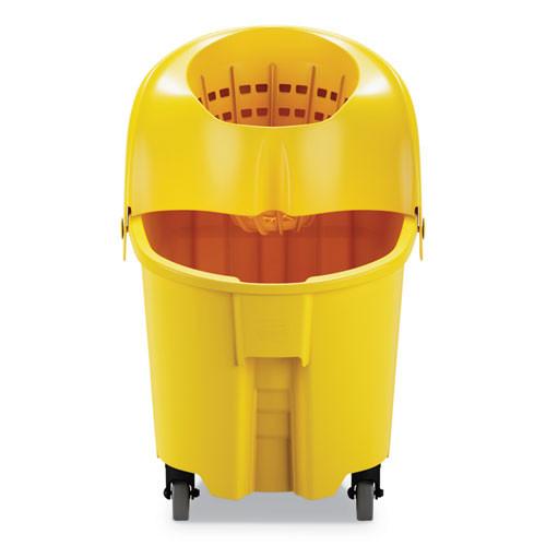 Rubbermaid Commercial WaveBrake 2 0 Bucket Wringer Combos  Down-Press  35 qt  Plastic  Yellow (RCPFG759088YEL)