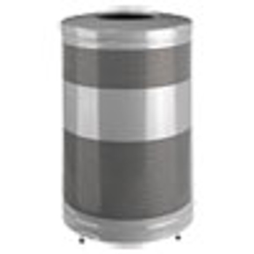 Rubbermaid Commercial Classics Open Top Waste Receptacle  51 gal  Stardust Silver Metallic with Black Lid (RCPS55ETSMPLBK)