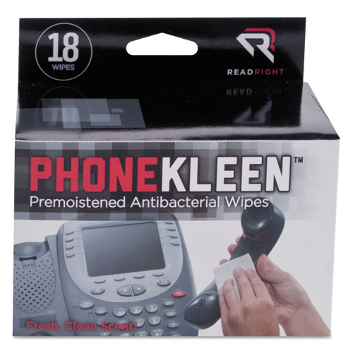 Read Right PhoneKleen Wet Wipes  Cloth  5 x 5  18 Box (REARR1203)