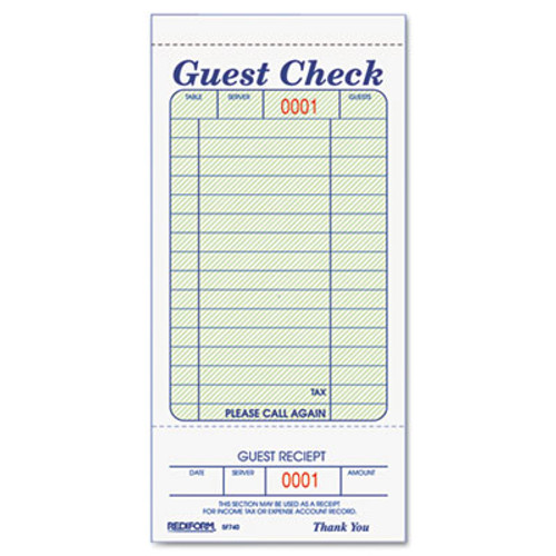 Rediform Guest Check Book  3 3 8 x 6 1 2  Tear-Off at Bottom  50 Book (RED5F740)