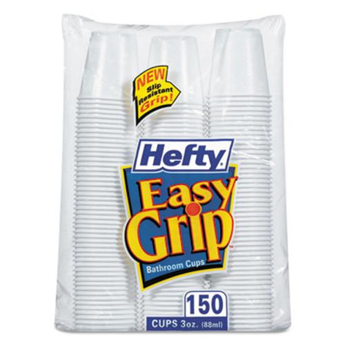 Hefty Easy Grip Disposable Plastic Bathroom Cups  3oz  White  150 Pack  12 Pks Carton (RFPC20315CT)