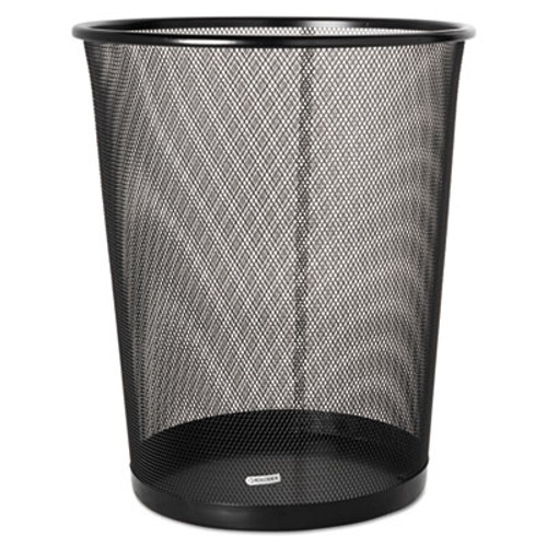 Rolodex Steel Round Mesh Trash Can  4 5 gal  Black (ROL22351)