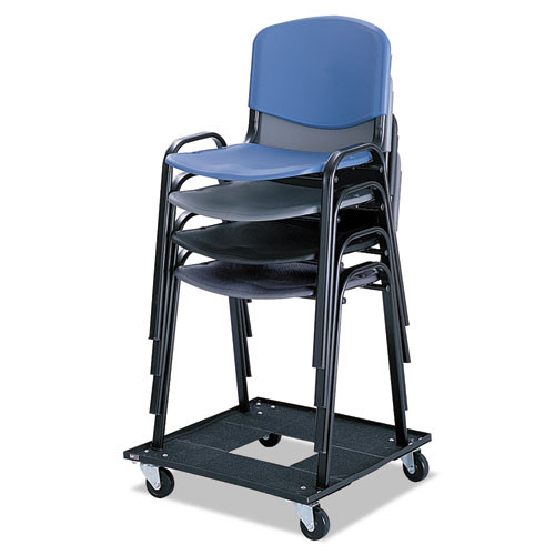 Safco Stacking Chair Cart  23 13w x 23 13d x 4 5h  Black (SAF4188)