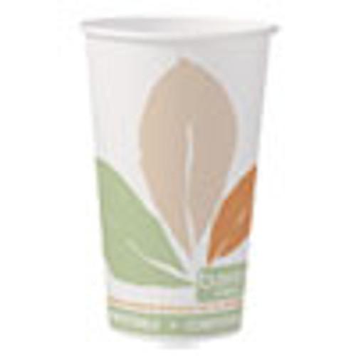 Dart Bare by Solo Eco-Forward PLA Paper Hot Cups  16 oz  Leaf Design  50 Pack (SCC316PLABBPK)