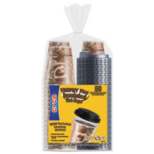 Dart Bistro Hot Cold Foam Cups with Lids  12oz  Maroon  300-Cup   Lids Carton (SCCFSX120029)