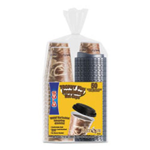 Dart Bistro Hot Cold Foam Cups With Lids  12 oz  Brown  50 PK (SCCFSX120029PK)