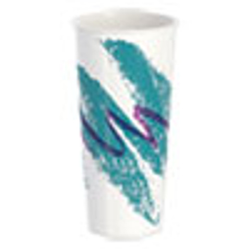 Dart Double Sided Poly Paper Cold Cups  24 oz  Jazz Design  50 Pack  20 Packs Carton (SCCRP24TPJ)