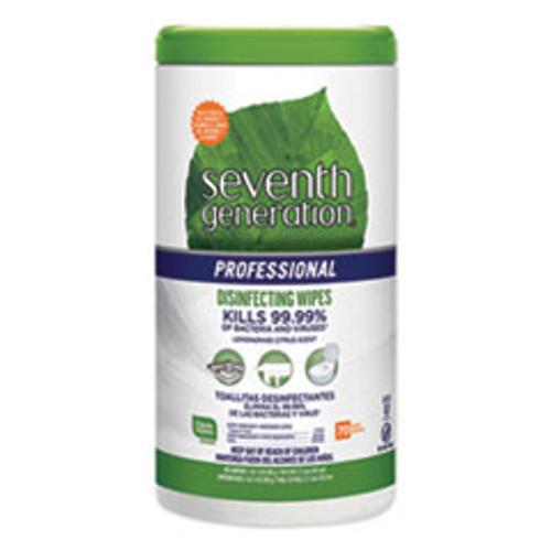 Seventh Generation Professional Disinfecting Multi-Surface Wipes  8 x 7  Lemongrass Citrus  70 Canister  6 Canisters Carton (SEV44753CT)