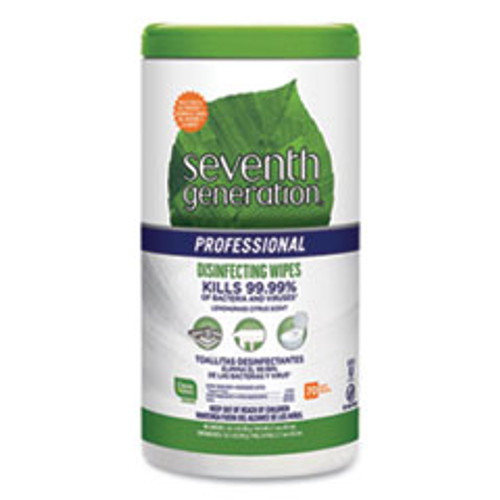 Seventh Generation Professional Disinfecting Multi-Surface Wipes  8 x 7  Lemongrass Citrus  70 Canister (SEV44753EA)
