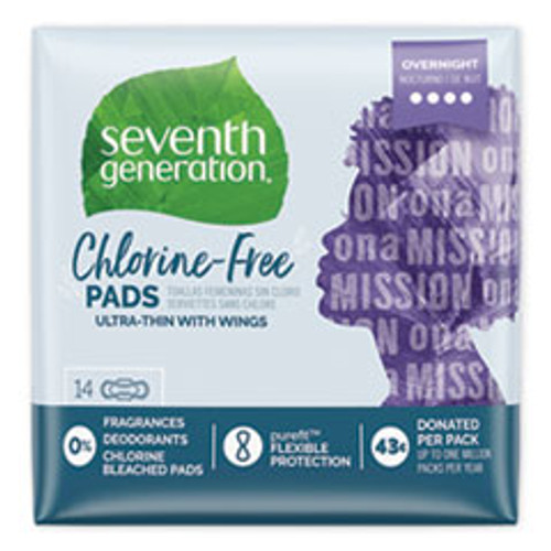 Seventh Generation Chlorine-Free Ultra Thin Pads with Wings  Overnight  14 Pack  6 Packs Carton (SEV450039)