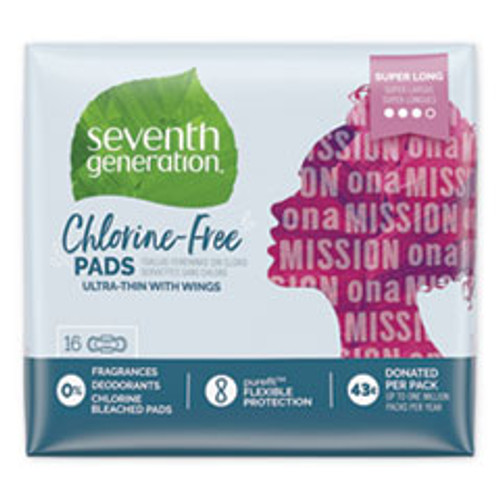 Seventh Generation Chlorine-Free Ultra Thin Pads with Wings  Super Long  16 Pack  6 Packs Carton (SEV450046)