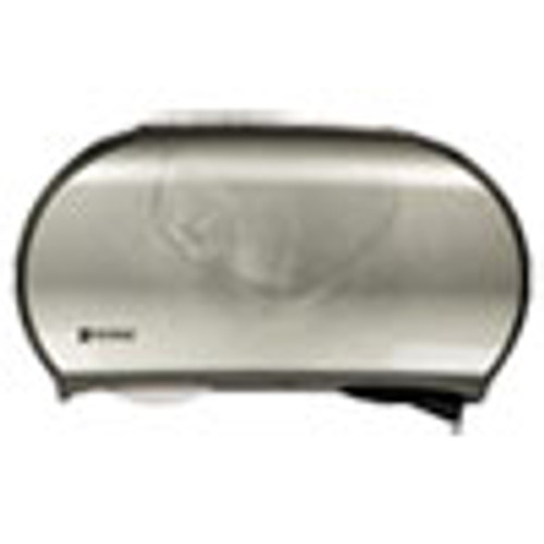 San Jamar Twin Jumbo Bath Tissue Dispenser  19 1 4 x 6 x 12 1 4  Faux Stainless Steel (SJMR4070SS)