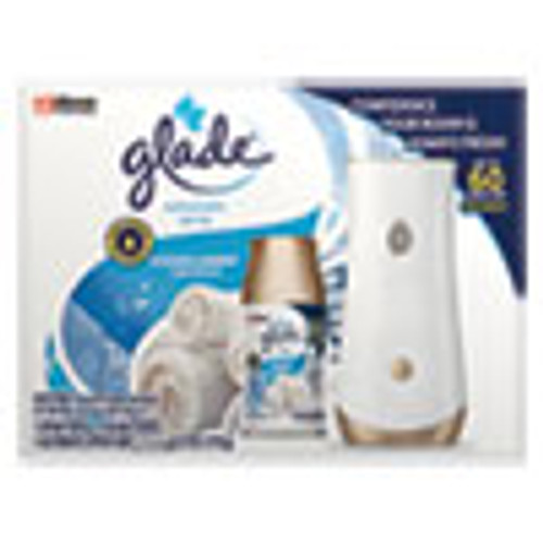 Glade Automatic Air Freshener Starter Kit  Spray Unit and Refill  Clean Linen  6 2 oz  4 Carton (SJN310916)
