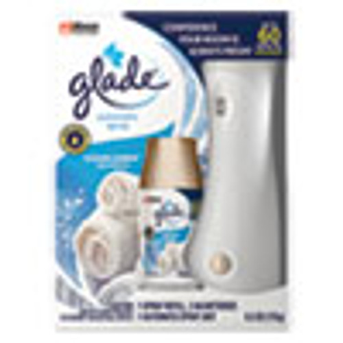 Glade Automatic Air Freshener Starter Kit  Spray Unit and Refill  Clean Linen  6 2 oz (SJN310916KT)