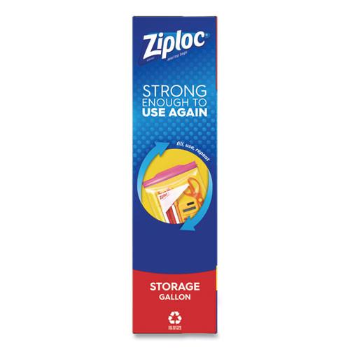 Ziploc Double Zipper Storage Bags  1 gal  1 75 mil  10 56  x 10 75   Clear  38 Box (SJN314470BX)