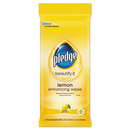 Pledge Lemon Scent Wet Wipes  Cloth  7 x 10  White  24 Pack  12 Packs Carton (SJN319250)