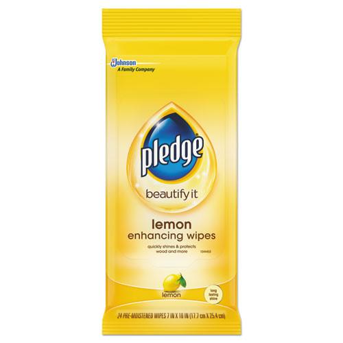 Pledge Lemon Scent Wet Wipes  Cloth  7 x 10  White  24 Pack  12 Packs Carton (SJN319250)