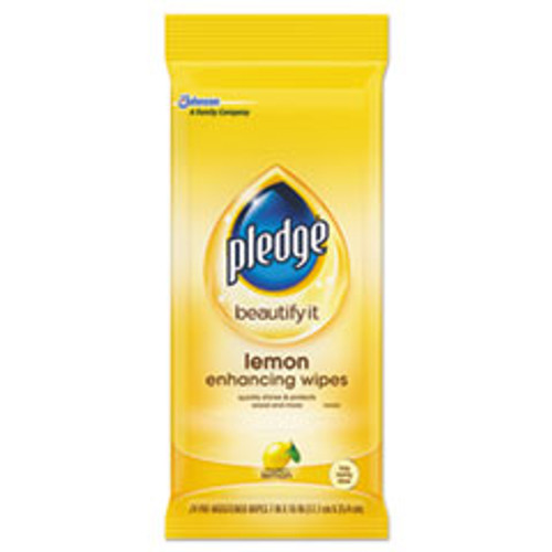 Pledge Lemon Scent Wet Wipes  Cloth  7 x 10  White  24 Pack (SJN319250PK)