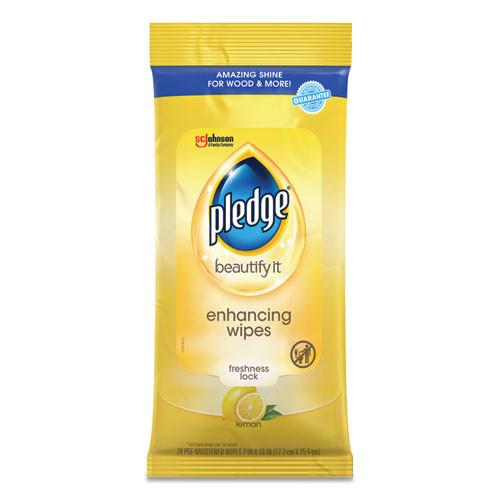Pledge Lemon Scent Wet Wipes  Cloth  7 x 10  White  24 Pack (SJN319250PK)