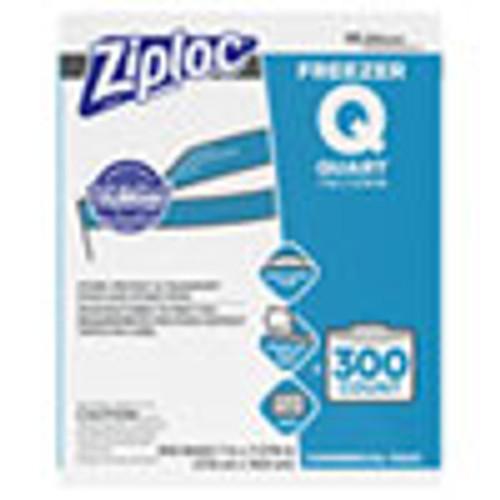 Ziploc Double Zipper Freezer Bags  1 qt  2 7 mil  7  x 7 75   Clear  300 Carton (SJN696187)