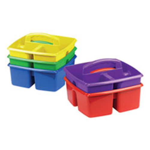 Storex Small Art Caddies  9 25 x 9 25 x 5 25  Blue Red Yellow Green Purple  5 per pack (STX00941U06C)