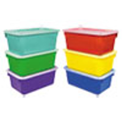 Storex Cubby Bins  12 25 x 7 75 x 5 13  Assorted  6 Pack (STX62406E06C)