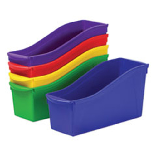Storex Interlocking Book Bins  4 3 4 x 12 5 8 x 7  5 Color Set  Plastic (STX70105U06C)