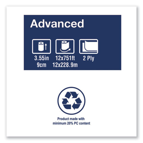 Tork Advanced Jumbo Bath Tissue  Septic Safe  2-Ply  White  3 48  x 751 ft  12 Rolls Carton (TRK11020602)